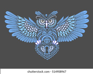 Steampunk owl with spread wings with a keyhole in the style of linework