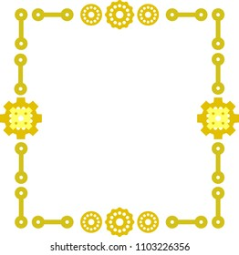 Steampunk. Rectangular frame with gears. Vector.