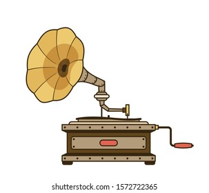 Steampunk retro gramophone isolated. Vintage cartoon phonograph. Vector illustration.
