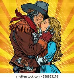 Steampunk robots. Cowboy kisses the girl