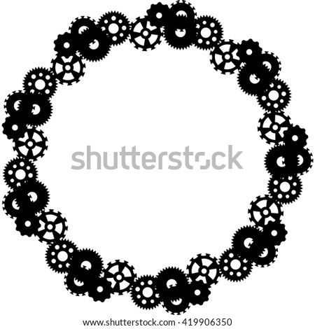 Steampunk Round Frame Gears Vector Stock Vector (Royalty Free ...