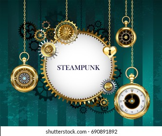 Steampunk round light banner with mechanical frame adorned with gears and antique clock on green striped background.