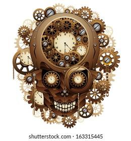 Steampunk Skull Vintage Style
