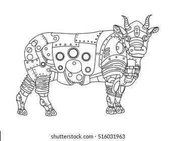 Steampunk style bull. Mechanical animal. Coloring book for adult vector illustration.