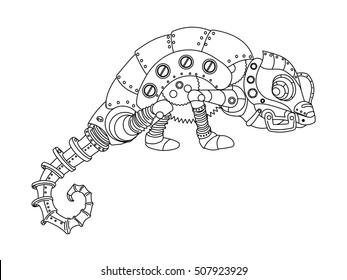 Steampunk Style Chameleon Mechanical Animal Coloring Book For Adult Vector Illustration