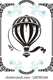 Steampunk style frame and vintage  hot air balloon