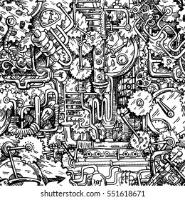 Steampunk style illustration drawn by hand.Seamless pattern. Fantastic mechanism. Us for music CD, card, postcard, poster, book design.