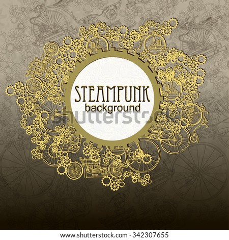 steampunk style template steampunk design card stock vector royalty