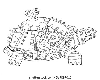 Steampunk style turtle. Mechanical animal. Coloring book vector illustration.