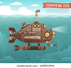 Steampunk submarine in the ocean. Fantastic retro submarine with periscope extended above the sea surface. Vector illustration.
