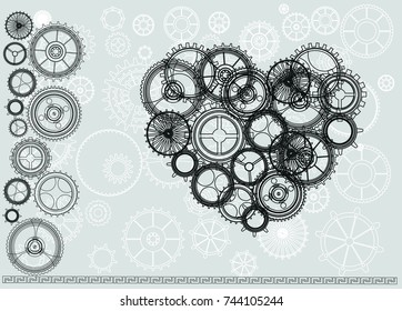 Steampunk vintage heart with cogs and gears on canvas paper background