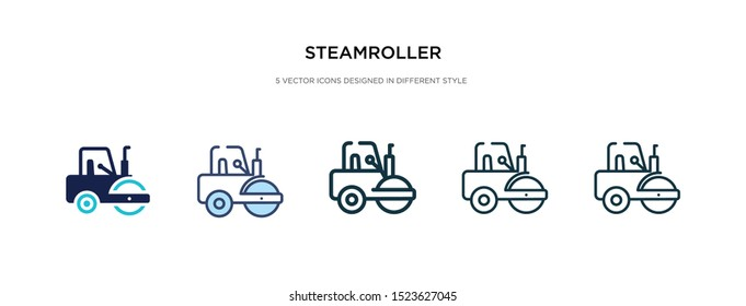 steamroller icon in different style vector illustration. two colored and black steamroller vector icons designed in filled, outline, line and stroke style can be used for web, mobile, ui