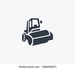 Steamroller icon isolated on clean background. Steamroller icon concept drawing icon in modern style. Vector illustration for your web mobile logo app UI design.