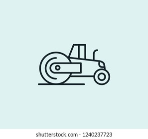 Steamroller icon line isolated on clean background. Steamroller icon concept drawing icon line in modern style. Vector illustration for your web mobile logo app UI design.
