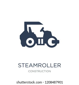 Steamroller icon. Trendy flat vector Steamroller icon on white background from Construction collection, vector illustration can be use for web and mobile, eps10