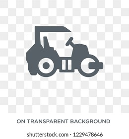 Steamroller icon. Trendy flat vector Steamroller icon on transparent background from Construction collection.