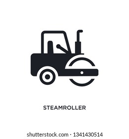 steamroller isolated icon. simple element illustration from construction concept icons. steamroller editable logo sign symbol design on white background. can be use for web and mobile