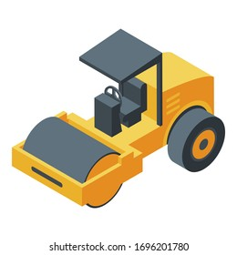 Steamroller machine icon. Isometric of steamroller machine vector icon for web design isolated on white background