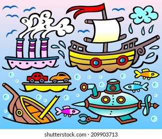 Steamship, sailing boat, wreckage, submarine and three curious fish - vector caricature.