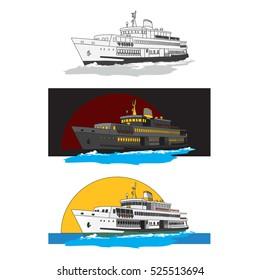 steamship vector. ferry