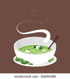 Steamy bowl of the peas pottage in the white ceramic bowl.  Simple and modern illustration on the brown background.  Big copy space on the top of the image.