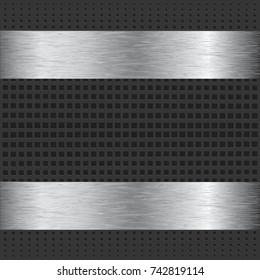 A steel or aluminum metal plate over grill background