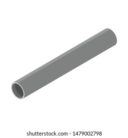 Steel or Aluminum pipe diameter isolated on white background.  Industrial steel tubes