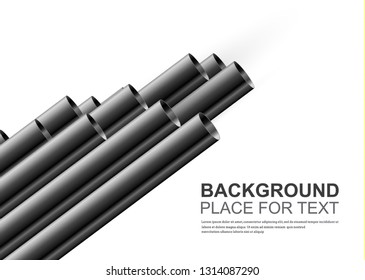 Steel or aluminum pipes are different. For advertising, design, website and magazine. Glossy 3d steel pipe design.
