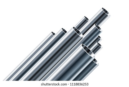 Steel or Aluminum pipes of different diameters isolated on white background. Glossy 3d Steel Tubes design. Industrial Vector illustration.