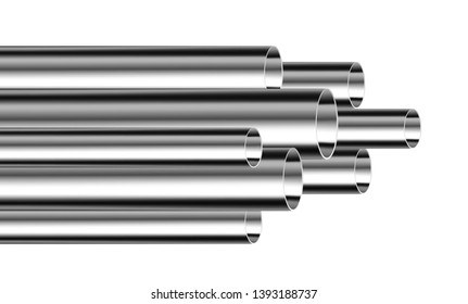 Steel or aluminum pipes of different diameters isolated on white background. Glossy 3d Steel Tubes design. Industrial, steel piplines production concept vector.