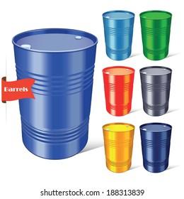 Steel barrels set on white background. Vector illustration.