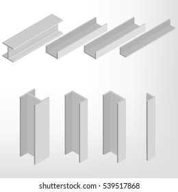 Steel beam isolated on white background. Design elements for the construction and reconstruction. Flat 3D isometric style, vector illustration.