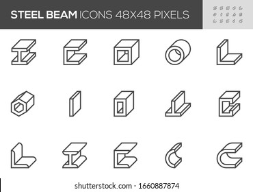 Steel Beam Vector Line Icons. Pipe, Metal Profiles, Metallurgy Products, Construction Industry. Editable Stroke. 48x48 Pixel Perfect.