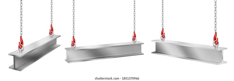 Steel beams hanging on chains with hooks, straight metal industrial girder pieces for construction and building works crane lifting iron balks isolated on white background, realistic 3d vector set
