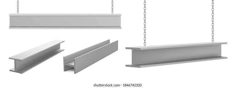 Steel beams, straight metal industrial girder pieces hanging on chains for construction and building works crane lifting iron balks isolated on white background, realistic 3d vector illustration, set