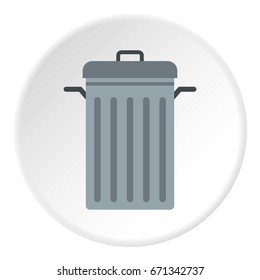 Steel bin icon in flat circle isolated vector illustration for web