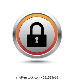 Steel button lock vector icon