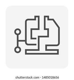 Steel clamp vector icon design for steel work graphic design element, editable stroke.