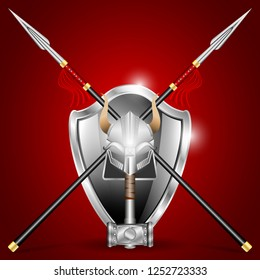 Steel Cold Weapons and armor: hammer with a pattern, crossed spear, helmet with horns, shiny shield isolated on a red background. Realistic Vector illustration
