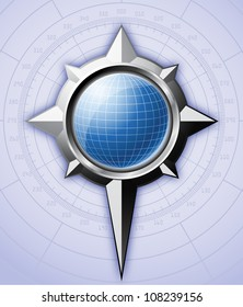 Steel compass rose with blue globe inside it. Vector EPS 10.