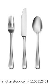 Steel Cutlery, knife, fork and spoon in realistic style. Fork and knife spoonset design isolated on white. Vector illustration