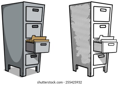 Steel filing cabinet vector illustration