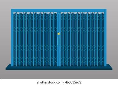 Steel folding sliding door vector flat design.