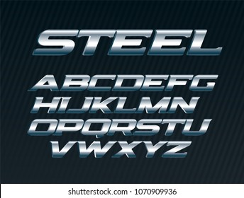 Steel font, metal letters set, chrome alphabet, silver vector letters, bold italic uppercase font for man on black background
