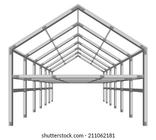steel frame building project scheme isolated on white vector illustration
