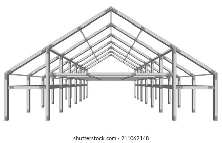 steel frame wide building project scheme isolated on white vector illustration