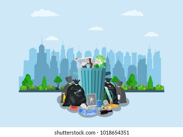 Steel garbage bin full of trash on street with city skyline. Garbage recycling and utilization equipment. Vector illustration in flat style