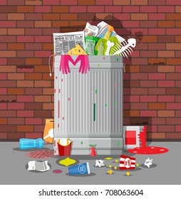 Steel garbage bin full of trash. Overflowing garbage, food, rotten fruit, papers,containers and glass. Garbage recycling and utilization equipment. Waste management Vector illustration in flat style