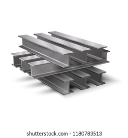 Steel I-beam. Design elements for the construction and reconstruction. Realistic vector illustration isolated on white background.