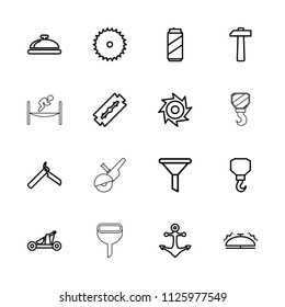 Steel icon. collection of 16 steel outline icons such as dish, razor, bllade razor, blade saw, hook, filter, bell, hammer, anchor. editable steel icons for web and mobile.